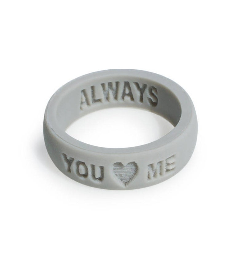 Silicone Wedding Ring.Custom Silicone Wedding Ring Gray Perfect Anniversary Gift For Any Women Silicone Rings For Women Personalized Silicone Ring Gift