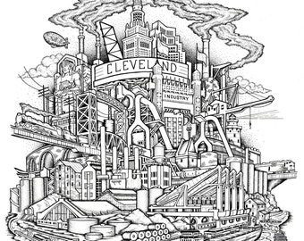 Industrial History of Cleveland Drawing