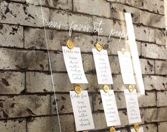 Seating Chart Cards | Table Assignment Chart | Wedding Calligraphy | Seat Assignments | Metallic Gold Calligraphy | Seating Chart Display