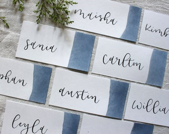 Blue Watercolor Custom Wedding Coasters for Reception Seating Dusty Blue Place Cards Calligraphy Escort Cards  Extra Thick Drink Coaster