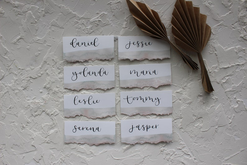 Neutral Wedding Day-Of Details Agate Inspired Escort Cards Beige Watercolor Name Cards Wedding Calligraphy Tan Lay-Flat Place Cards