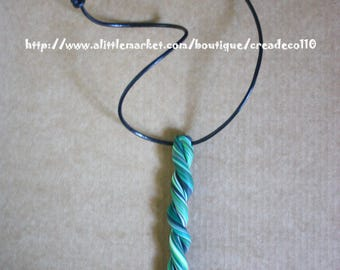 "Adjustable leather ""green stalactite"" pendant necklace"