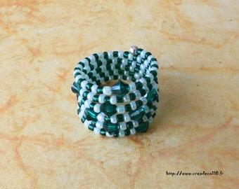 Ring shape memory 6 swarovski Emerald Crystal rounds