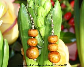Earrings spirit Earth d'Ailleurs pyramid beads