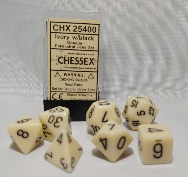 Ivory with Black Chessex Dice Toy Polyhedral 7-Die Opaque Dice Set