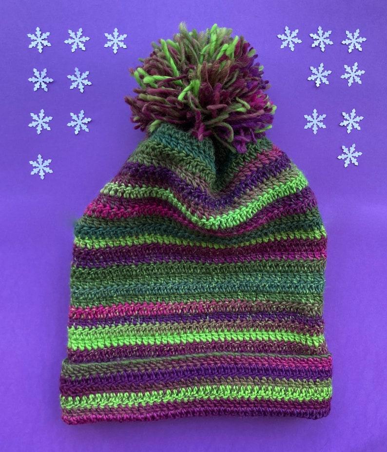 Pure new wool crocheted beanie slouch hat Winter Berries green purple