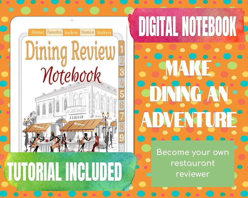 Dining Review Notebook Food Lover Gift Foodie Gift Diner image 0