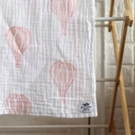 Hot air balloon Cotton Swaddling Blanket block printed baby blanket cotton muslin swaddle blanket hot air balloon print baby shower gift