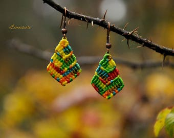 Bright macrame earrings.