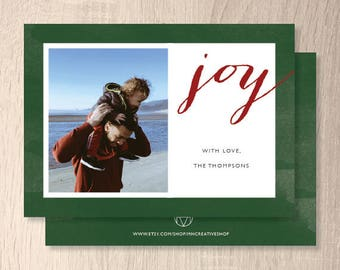 Red & Green Holiday Card, pdf digital file, customizable, 4x6 or 5x7