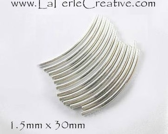 Tube 925 sterling silver curved smooth 1.5 x 30mm