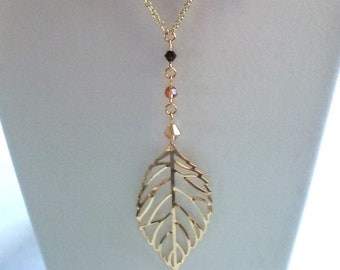 Y-style Cutout Leaf Necklace, Earrings, Swarovski, Lightweight, Under 25.00, Shades of Brown