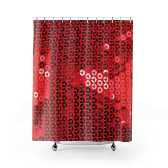 Red Sequin Print Shower Curtain
