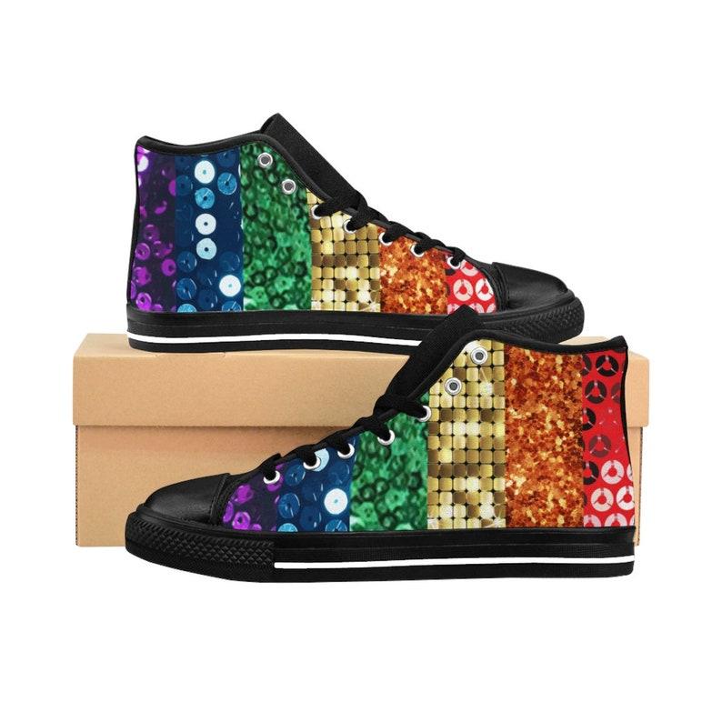 cbfc7eb8cb1 Sequin Print Pride Flag Shoes Mens High Top Sneakers