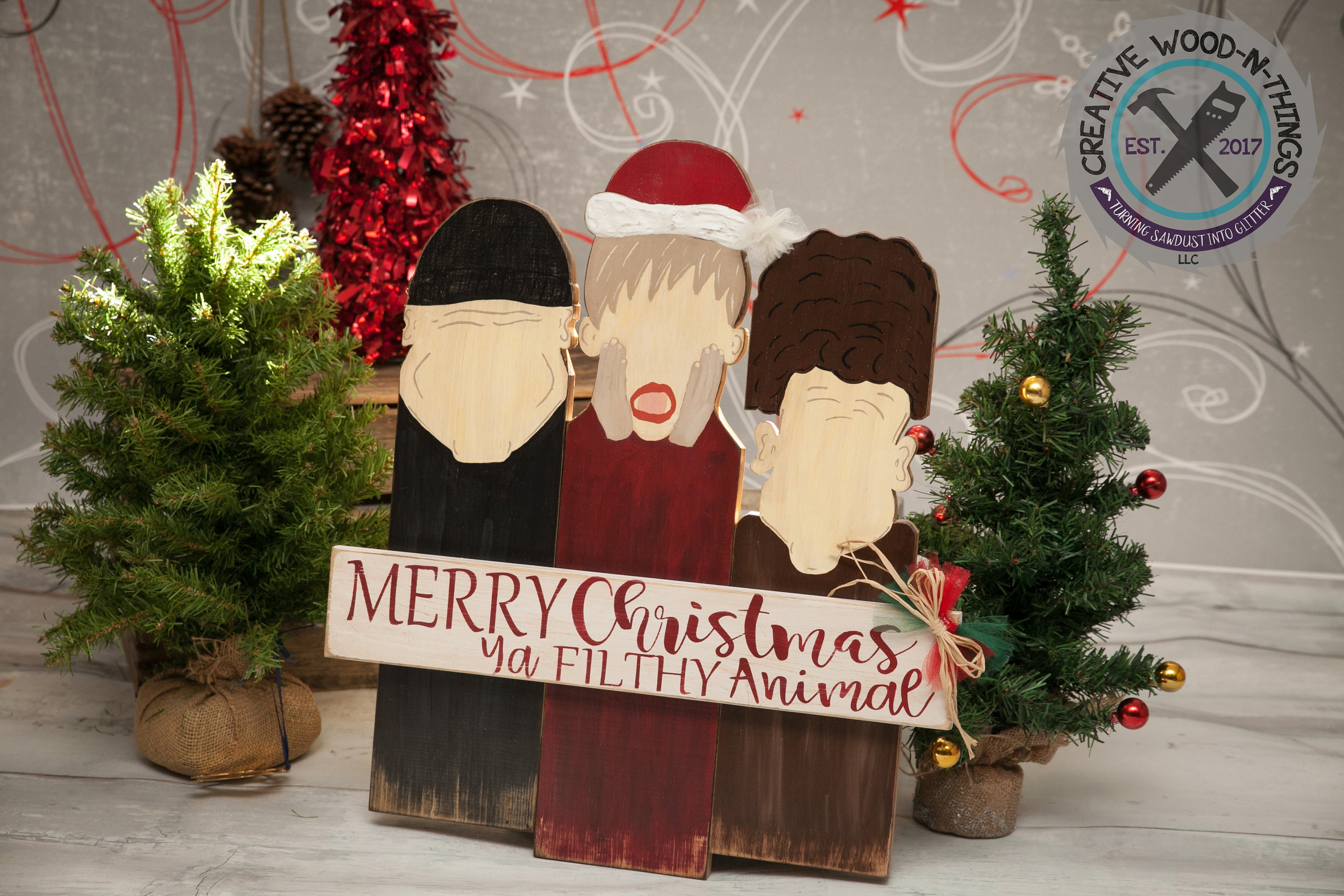Christmas Decor Merry Christmas Ya Filthy Animal Home Alone Sign Funny Sign Diy Wood Kit Rustic Decor Christmas Decor Porch Sign