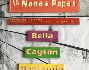Grandparents Sign, Grandchildren Name, Custom Grandparent, Grandkids Name, Personalized, Greatest Blessings, Wood, Custom, Engraved, Painted