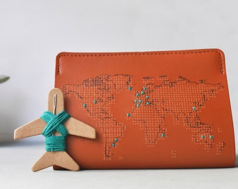 Stitch where you've been! Travel Passport Cover - Brown Real Leather Holder with world map, needle & thread