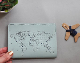 Stitch where you've been! Travel Passport Cover - Mint Real Leather Holder with world map, needle & thread