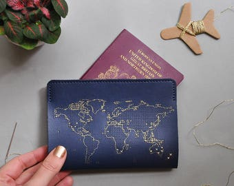 Stitch where you've been! Travel Passport Cover - Navy with Gold world map, Real Leather Holder with needle & thread