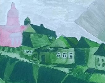 The Emerald Village Painting/Wall Art/Gift