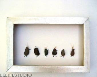 Pebble art picture Birds, pebble, frame pebble art,  any color frame, rain bow frame