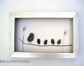 Pebble art picture Birds, pebble
