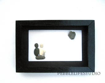 Unique family gift, pebble picture, home decor, Art with pebbles,  couple, Family gift