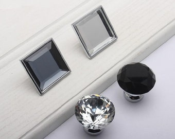 Dresser Drawer Pull Cabinet Pull Drawer Pull C19 30mm Round Knob Clear Crystal Glass 1