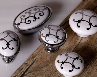 Dresser Knobs Handles Drawer Knobs Pulls Handles Ceramic Knobs Pulls Kitchen Cabinet Knobs White Silver Modern Furniture Knob Handles 0.87""