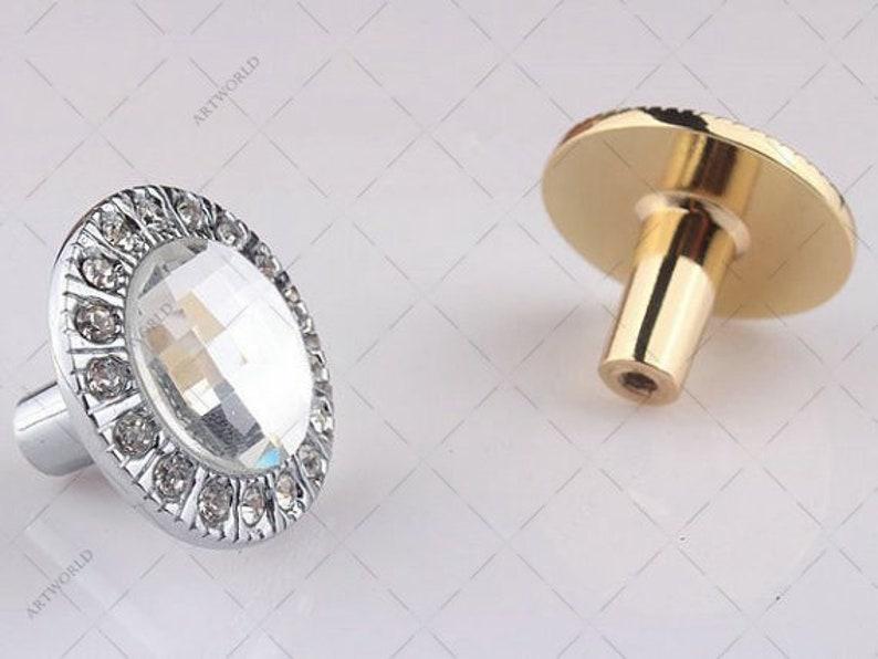 Glass Crystal Knobs Handles Dresser Knobs Pulls Drawer Knob Pulls Handles Silver Gold Kitchen Cabinet Door Pulls Knobs Rhinestone Clear