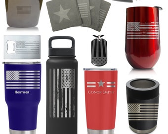 Ships Jan 5 2021 Custom American Flag Gifts - Stainless Steel Insulated Sports Bottles, Tumblers, Wine, Can Cooler Coasters