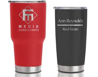 20 ounce and 30 ounce Double Walled Insulated Stainless Steel Tumblers - Custom Business Logo for event and corporate gifts