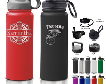 24 and 32 ounce Double Walled Stainless Steel Sport Bottle - Personalized Custom Design