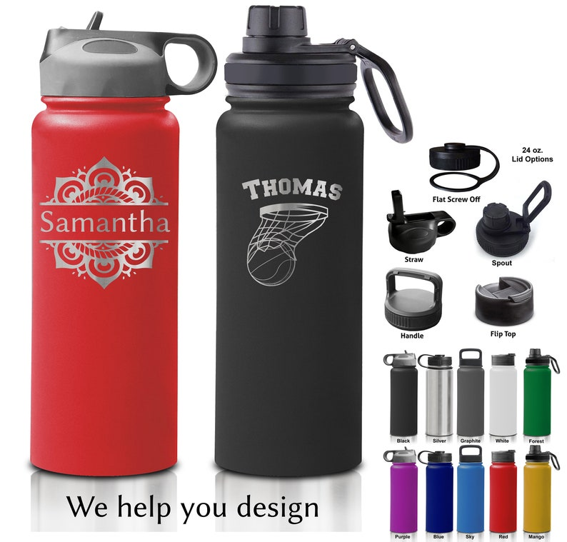 24 and 32 ounce Double Walled Stainless Steel Sport Bottle  image 0