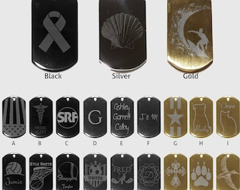Dog Tag Necklace - Black, Silver or Gold Personalized Etched silver design. Comes with leather adjustable necklace