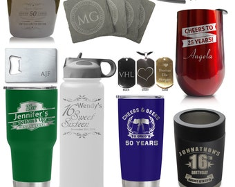 Custom Birthday Gifts - Stainless Steel Insulated Sports Bottles, Tumblers, Wine, necklace pendant, flask, bottle openers Coasters