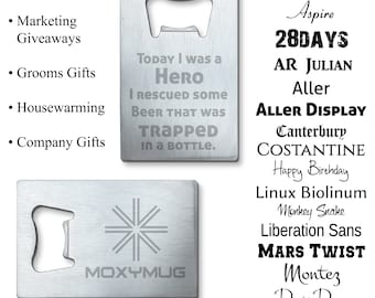 Bottle Opener Custom Personalized Credit Card Size - Etched Design for Grooms Gifts, Marketing Giveaways for beer