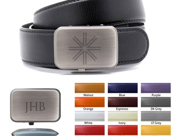 Personalized Leather Belt with Buckle - Quick Release Buckle, 15 colors, Cut to Fit One size fits all, any design.