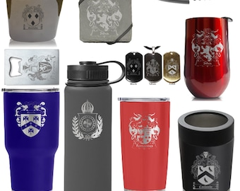 Custom Family Crest Gifts - Personalized Insulated Stainless Steel Sports Bottles, Tumblers, Wine, Can Cooler, Coasters
