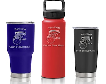 Double Walled Stainless Steel Sport Bottle and Tumbler - Custom Basketball Tournament and Event Gift coach players and team
