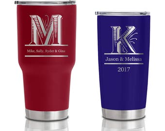20 ounce and 30 ounce Double Walled Stainless Steel Tumblers - Monogram Wedding and Anniversary