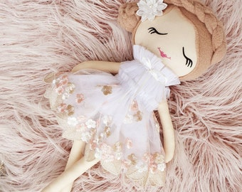 White Embroidered Lace Doll