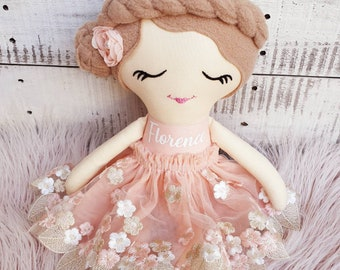 Handmade Personalized Rag Doll, Customized Name Cloth Doll