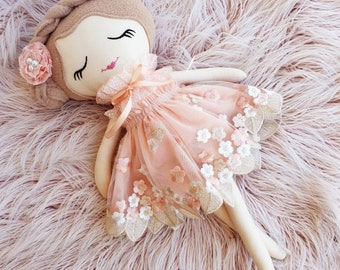 Peach & Gold Lace Doll