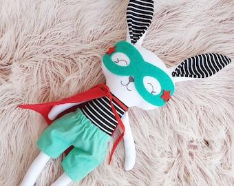 Handmade Superhero Bunny Rag Doll