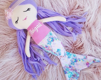Personalized Mermaid Doll, Custom Name Mermaid Cloth Doll