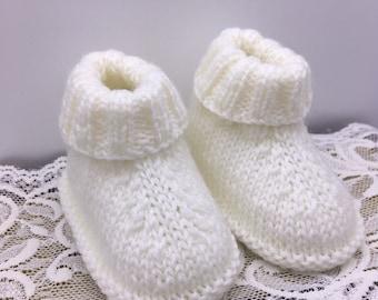 Baby booties -White baby booties -Unisex white booties - Christening booties-  Baby shower gift -0-3 months booties- Newborn baby gift 946df0f11729