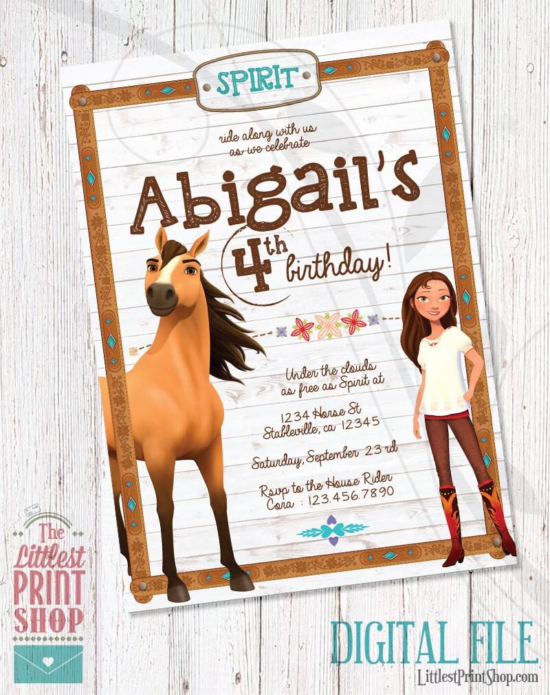 Spirit Riding Free Invitation Birthday Invite DIGITAL | Etsy