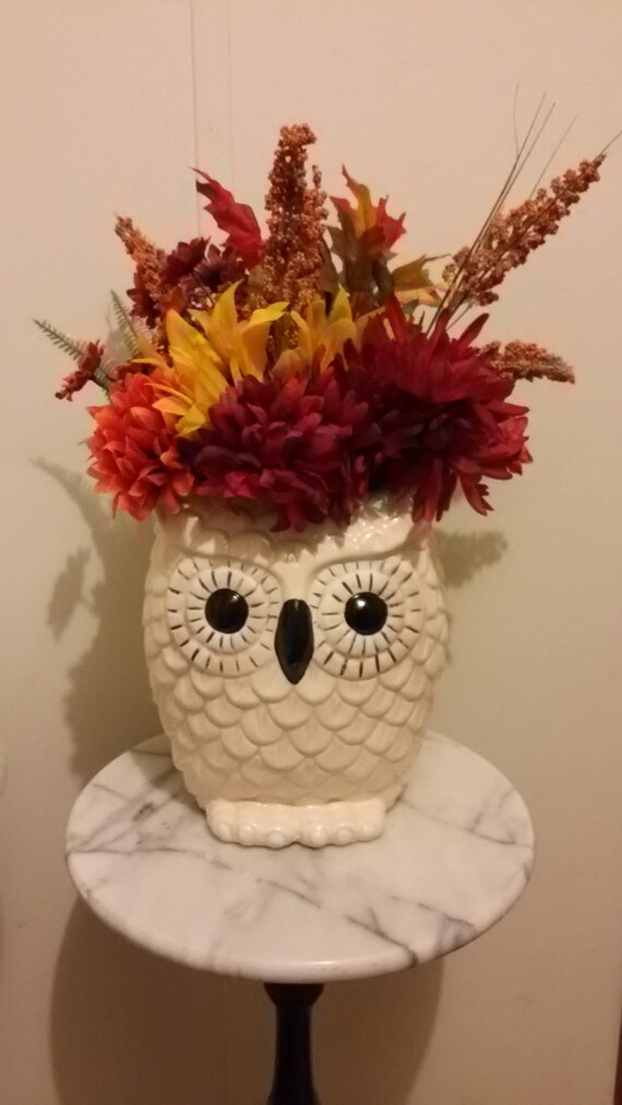 White Owl Vase Arrangement Etsy