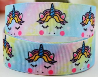 Berisfords Satin Grosgrain Pastel 25mm Cut Lengths Born To Be A Unicorn Ribbon